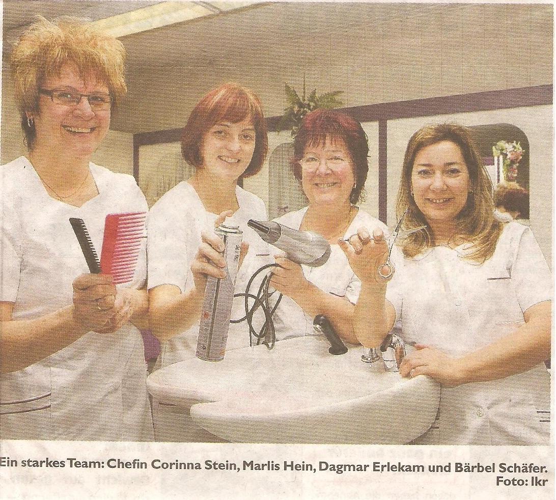 Das Bild zeigt das Team des Friseursalons Stein (Chefin Corinna Stein, Marlis Hein, Dagmar Erlekam und Bärbel Schäfer)